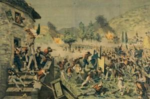 T__Rodella_-_battaglia_di_Mentana_-_litografia_acquerellata_su_carta_-_1870s