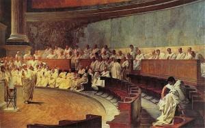 Maccari-Palazzo Madama-Cicerone attacca Catilina in senato
